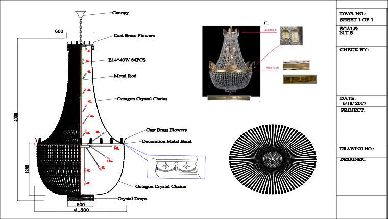 Custom Crystal Pendant Lamp drawing