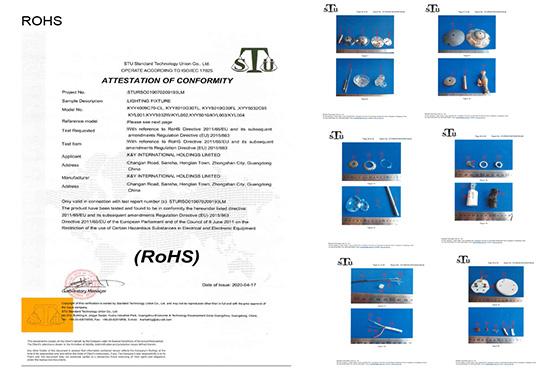 K&Y lighting ROHS certification
