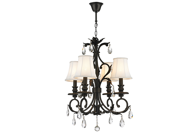 Wrought Iron Chandelier with lampshade- KY Y7002AB-4L-S
