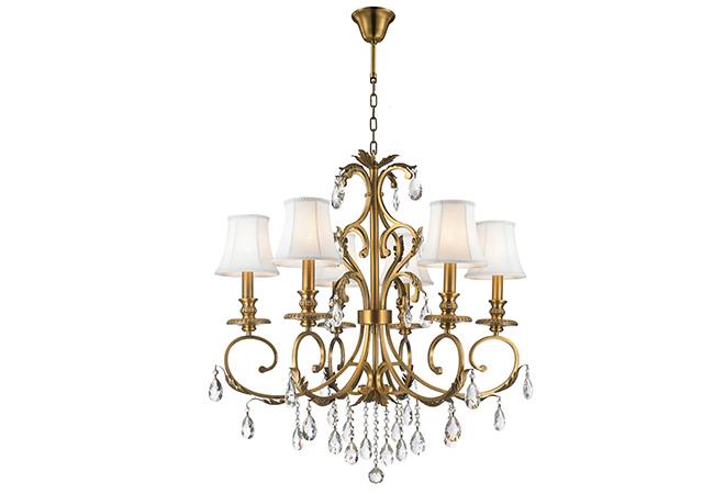 Contemporary Wrought Iron Chandelier-KYY7002BG-6L-S