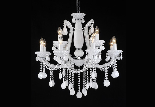 White Maria Theresa Chandelier KY2615-12L-W
