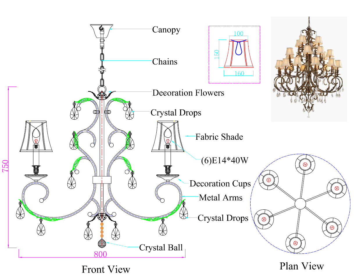 WROUGHT IRON CHANDELIER Drawing