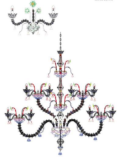 custom glass chandelier drawing