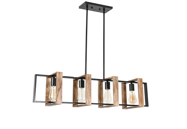 Black and Wood Pendant Light - KY Y9940