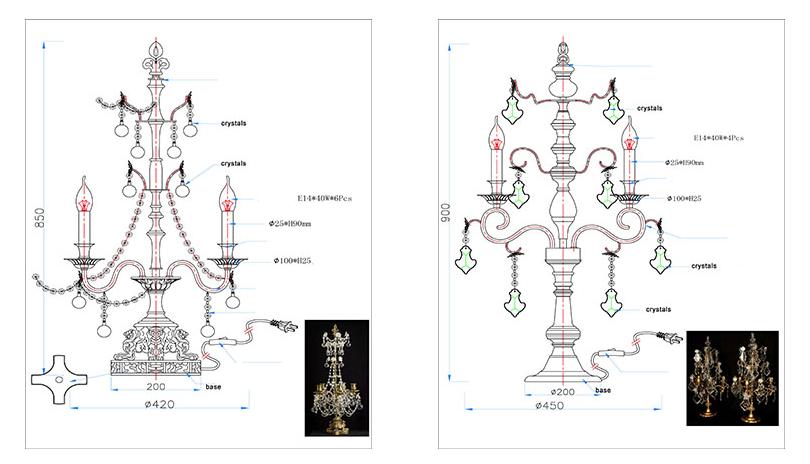 crystal table lamp drawing